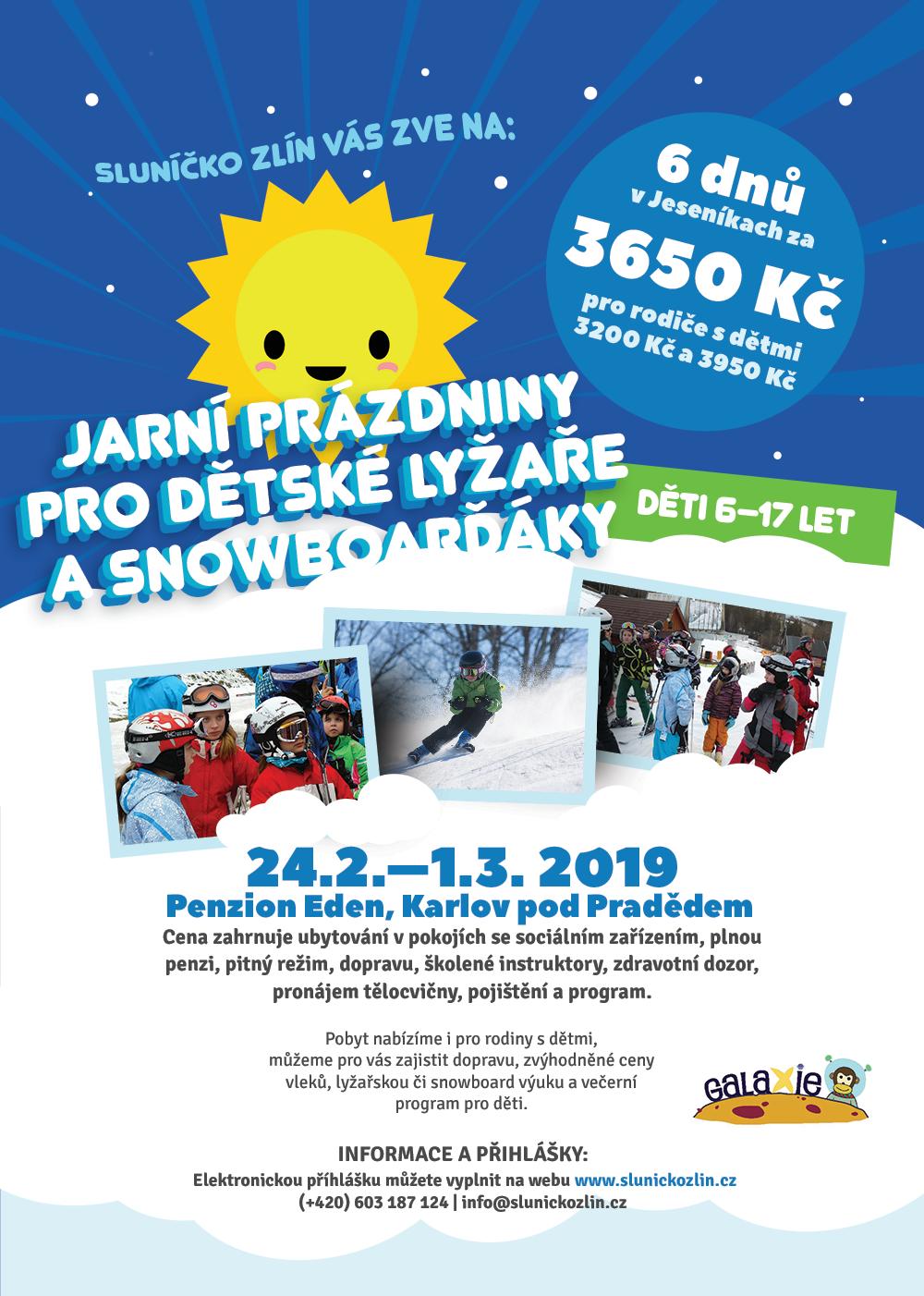 Leták s informacemi na zimní tábor 2018