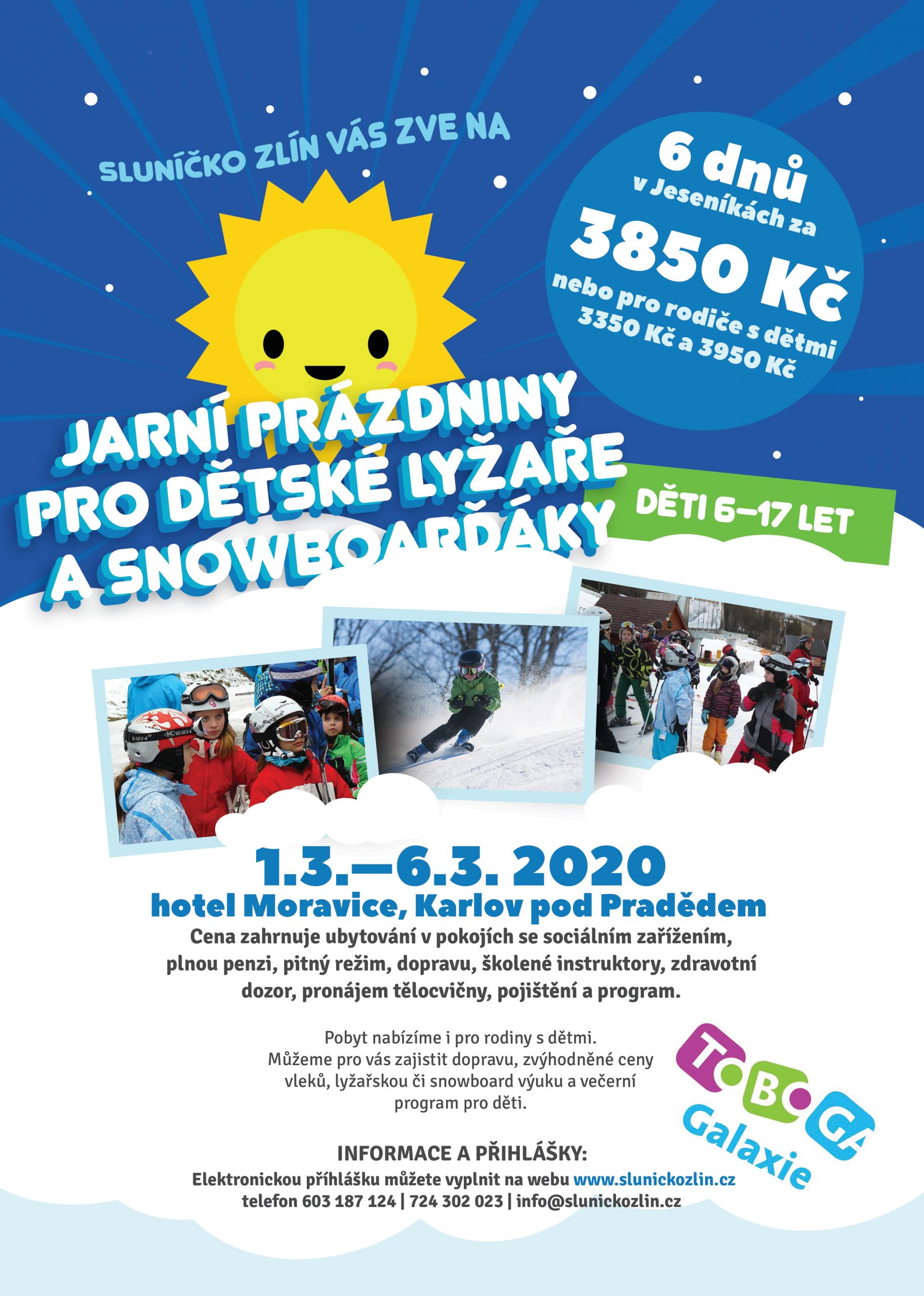 Letáček na zimní tábor 2019 ve Zlíně